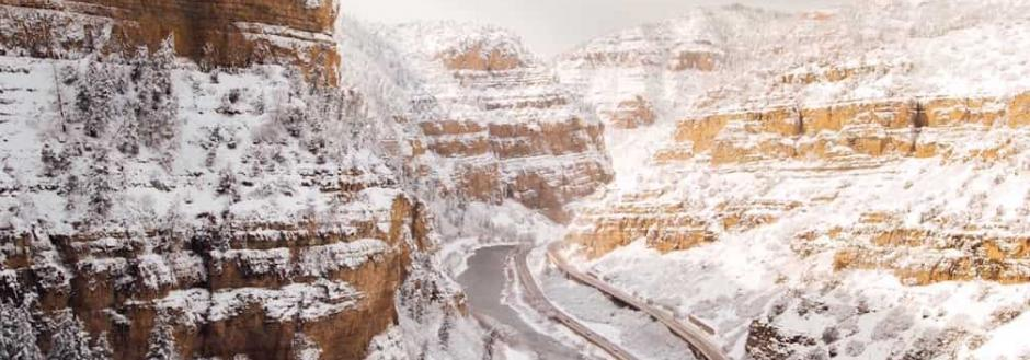Driving to Aspen in winter