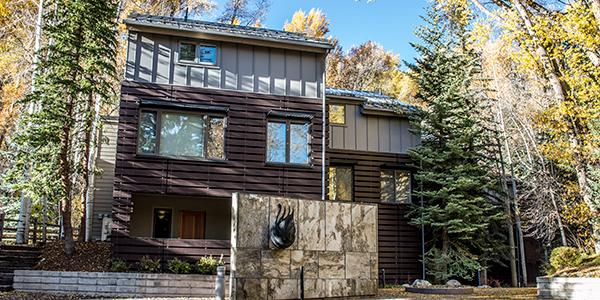 Exterior of the Black Swan Townhomes in Aspen