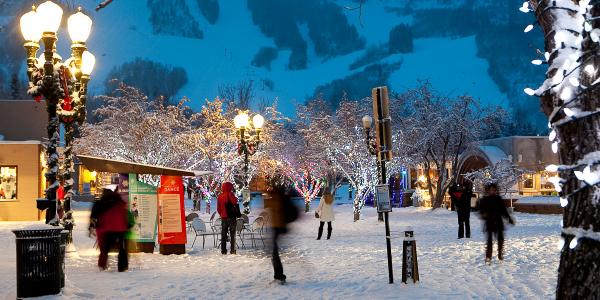 Aspen's holiday atmosphere in January