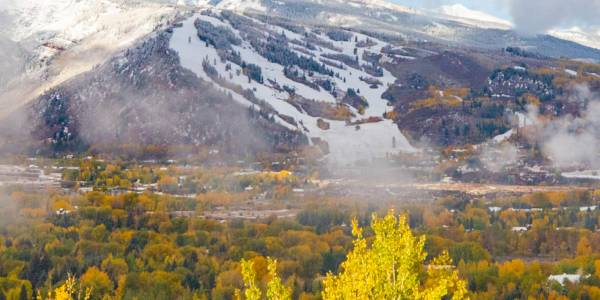 First snow on the mountains in Aspen