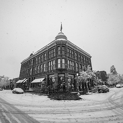 black and white old photo of downtown aspen