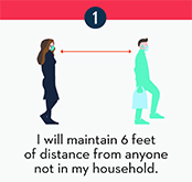 Maintain 6 feet of distance