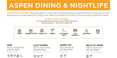 Aspen Dining and Nightlife Guide