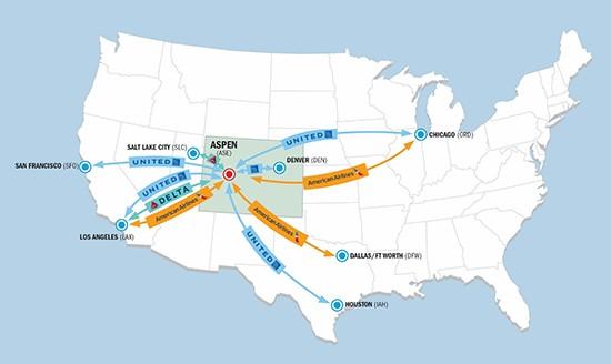 Aspen Air Service Map