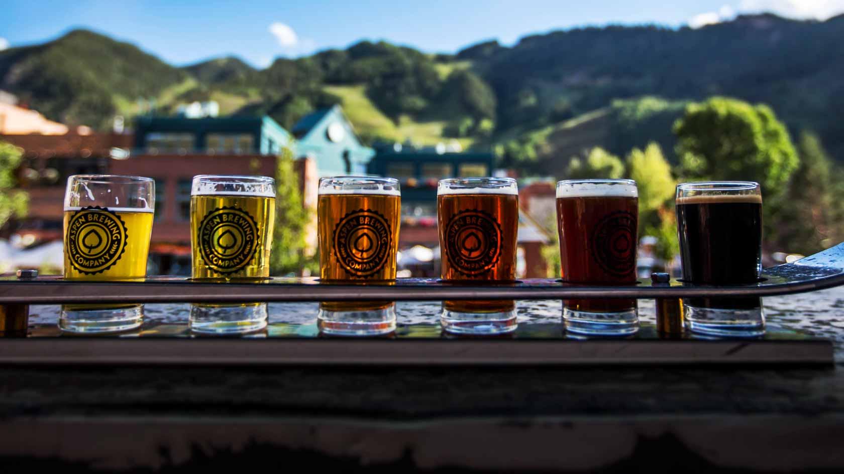 beer flight at aspen tap apres ski vacation