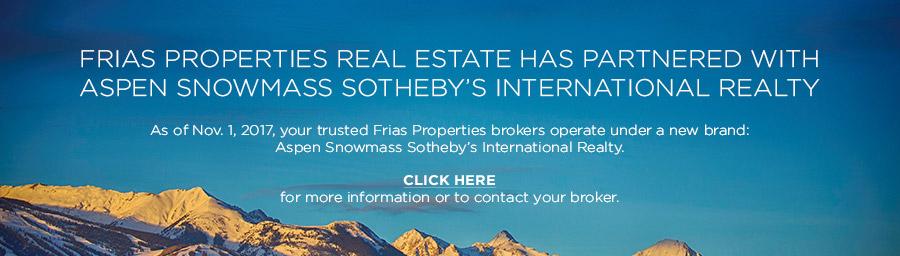 Frias Properties of Aspen partners with Aspen Snowmass Sotheby's International Real Estate banner