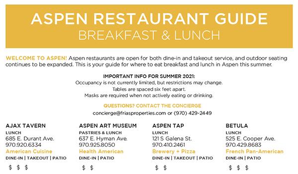 Aspen Daytime Dining Guide