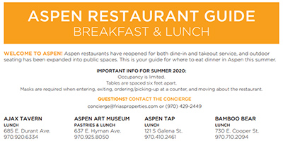 Aspen Restaurant Guide with Covid Information