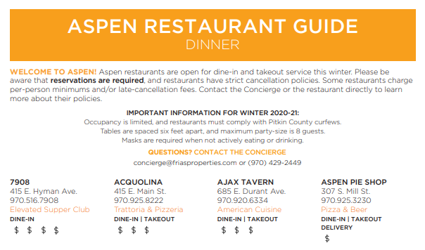 Aspen Dining Guide with Covid Information