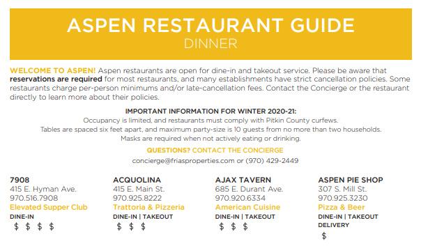 Aspen Restaurant Guide Dinner