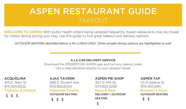 Aspen Restaurant Guide Takeout