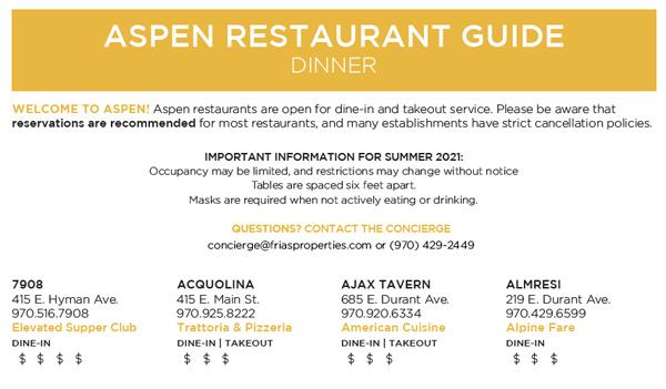 Aspen Dining Guide