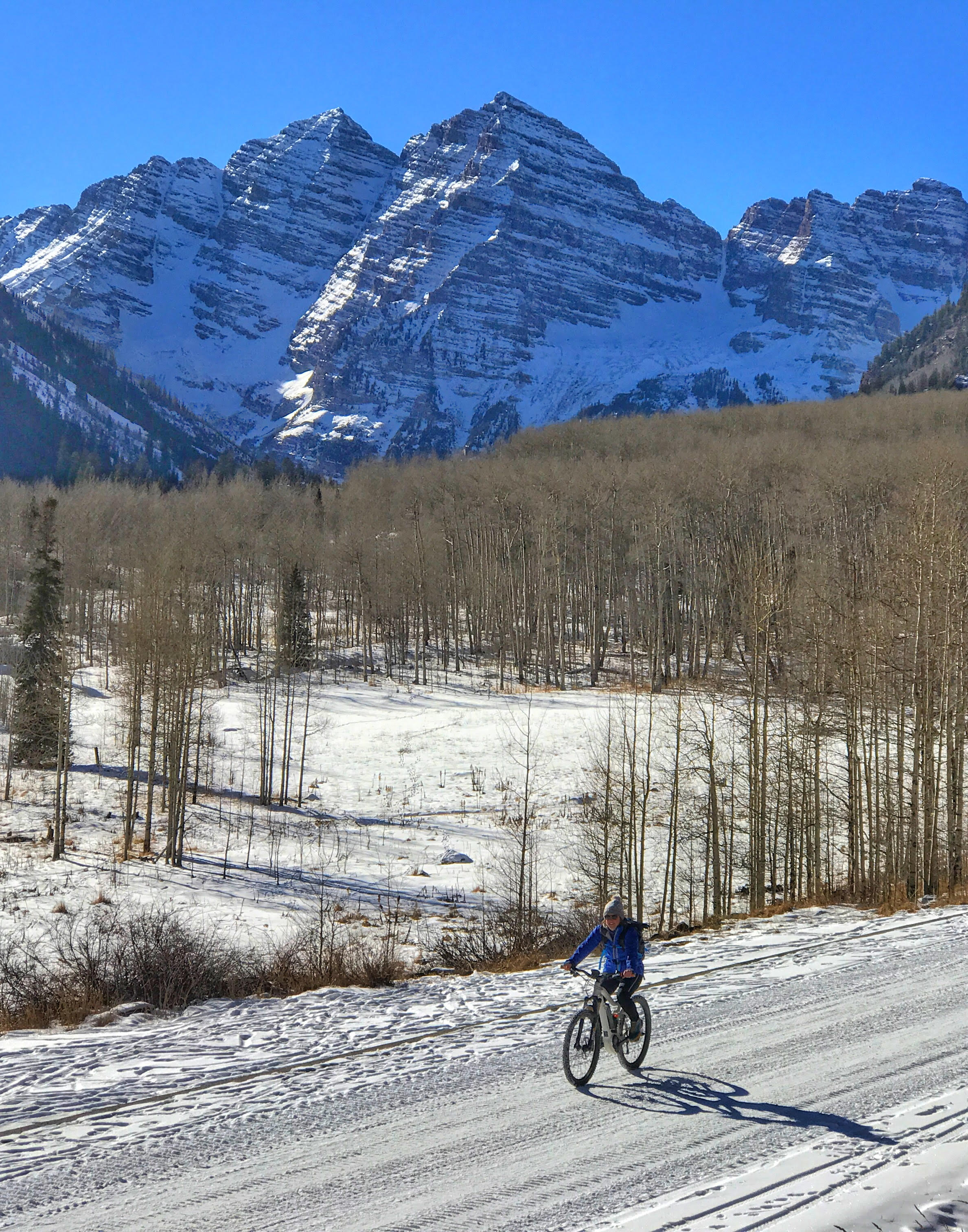 fat biking to maroon bells winter aspen activities