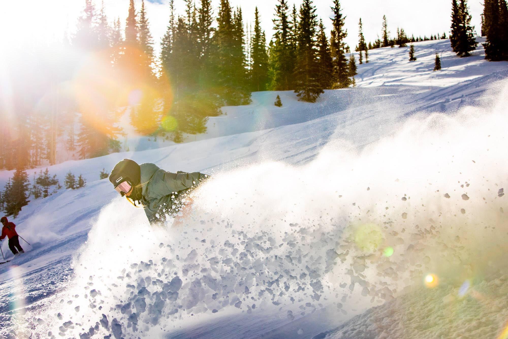 Snowboarding in Powder Aspen