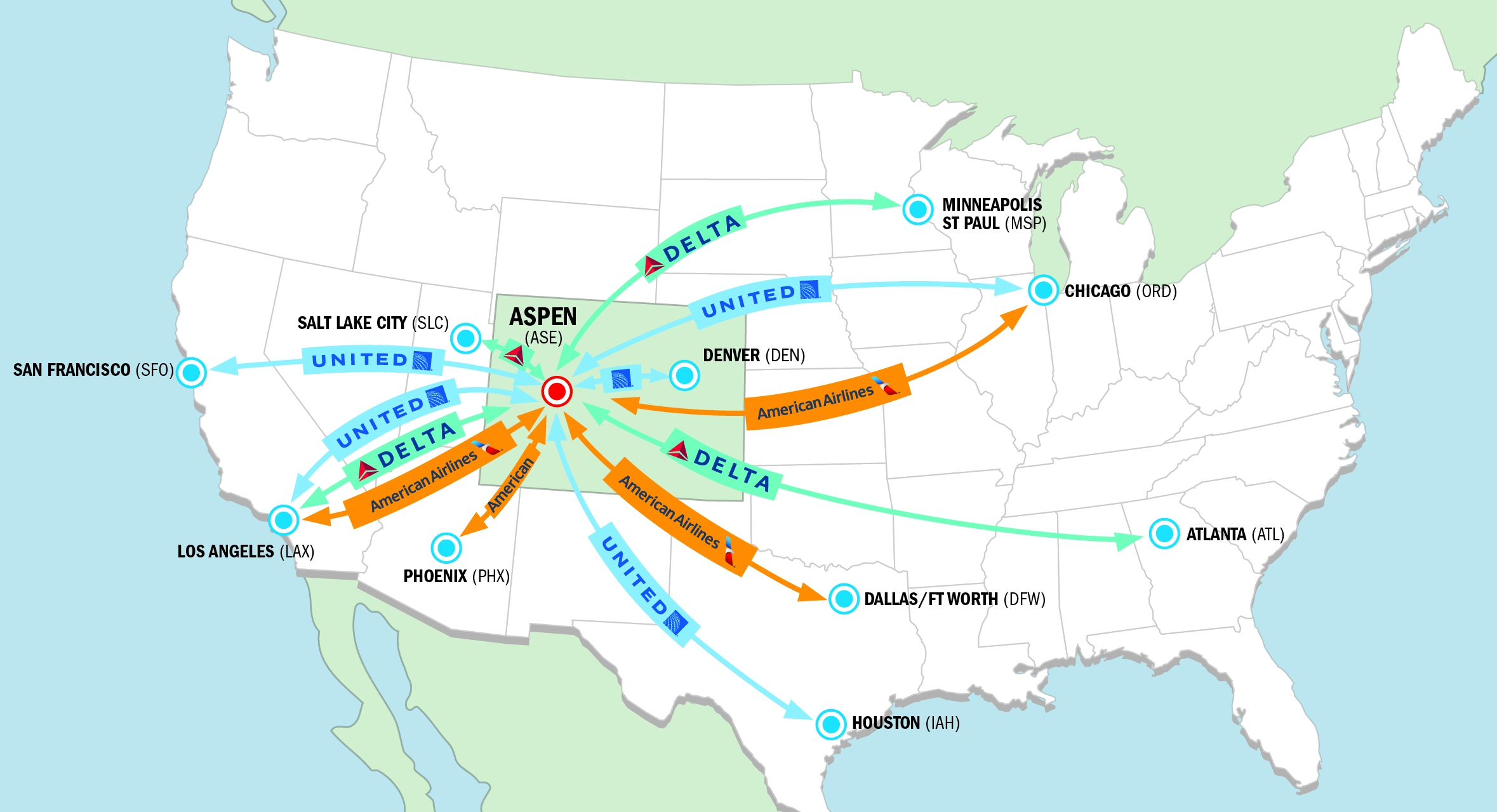aspen airport winter flight map