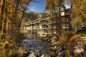 The Chateau Roaring Fork sits right on the river!