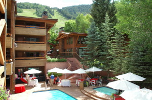 The Fasching Haus pool area is a popular place for get togethers!