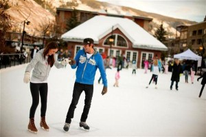 Couples, groups and children all love the outdoor SK8 (Silver Circle Rink) in downtown Aspen.
