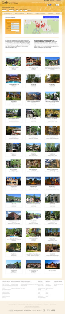 The Vacation Rentals page displays our selection of condominium complexes.